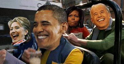 Obama, Clinton, Biden and Michelle in a car