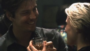 Sam and Starbuck take a shot of whisky.