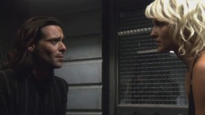 Head Baltar and Caprica Six, in the brig.