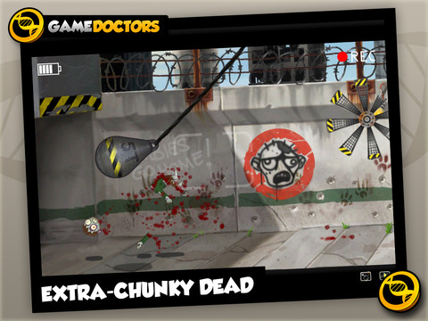 """Screenshot of mobile game, Zombie Smash HD with text that reads """"Extra chunky dead"""" over a scene of zombie carnage."""