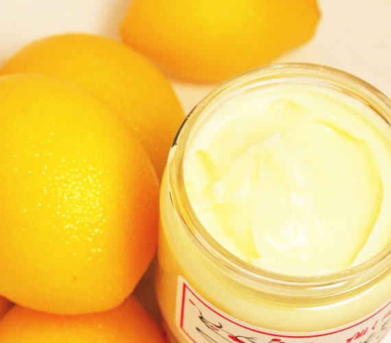 close-up of lemons and yellow shea butter cream