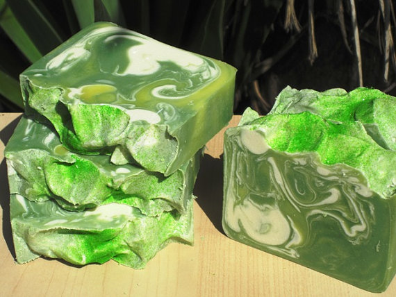 close-up pic of green handmade soap
