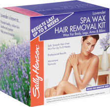box of Sally Hansen Lavender Body wax with woman wrapped in towel on it