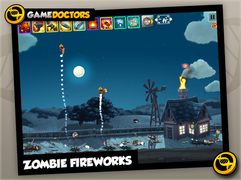 """Screenshot of mobile game, Zombie Smash HD, with text reading """"Zombie fireworks"""" overlaying a shot of zombies being launched into the air strapped to fireworks."""