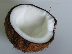 close-up of a halved coconut