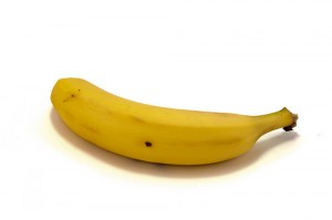 close-up of a single banana on a white background