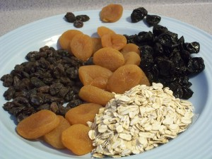 Pic of dried raisins, cherries, apricots, and oatmeal