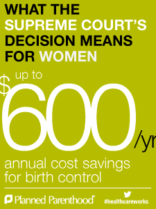 "Yellow-green poster reading"" What the Supreme Court decision means for women. $600/yr annual cost savings for birth control. Planned Parenthood #healthcareworks"