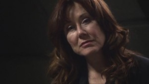 President Roslin, looking sad and contemplative