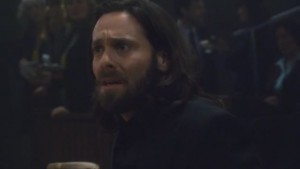 Baltar at the trial, looking distressed.
