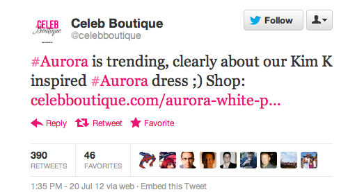 """Tweet from Celeb Boutique reading """"#Aurora is trending; clearly about our Kim K inspired #Aurora dress. ;) Shop (partial url)"""""""