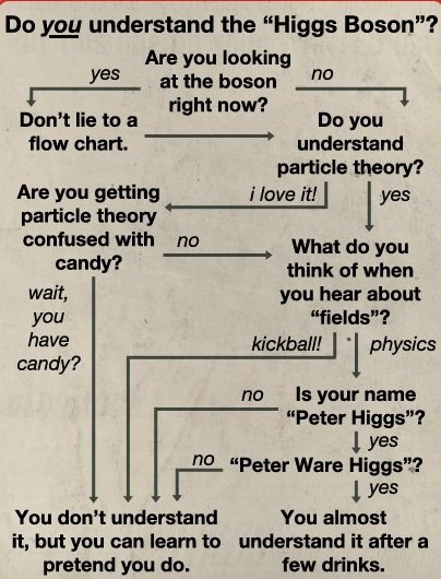 Flowchart concluding that unless you are Peter Ware Higgs, you don't understand the Higgs Boson (and if you are him, you only sorta understand it after a few drinks)