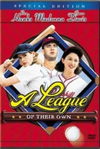 DVD cover of A League of Their Own, showing Geena Davis, Tom Hanks, and Madonna
