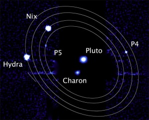 Hubble image of Pluto and Charon with orbital paths of the four smaller moons drawn in around the pair