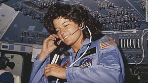 Image of astronaut Sally Ride on board the Challenger