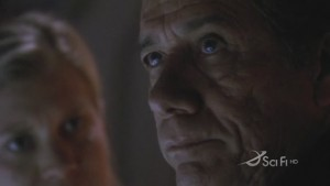 Closeup of Adama and Starbuck's faces - Adama is closer, and in focus.
