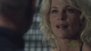 Ellen Tigh's face with the exact same makeup and hair as Caprica Six.