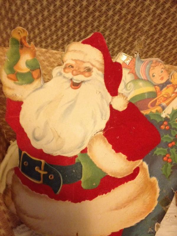 creepy cardboard vintage Santa decoration