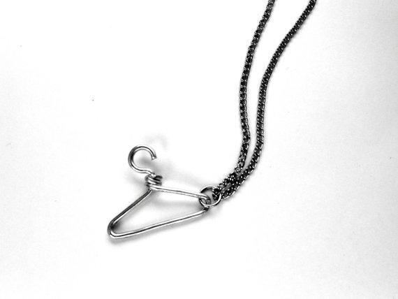 silver wire hanger charm neckalce