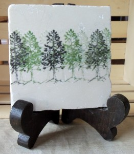 Close-up of Pine Tree Tile Kitchen Trivet