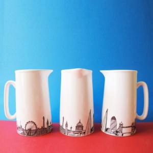 Close-up of London Skyline Jug, 2 Pints