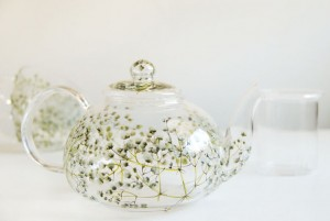 Close-up of Baby's Breath Hand-Painted Glass Tea Set