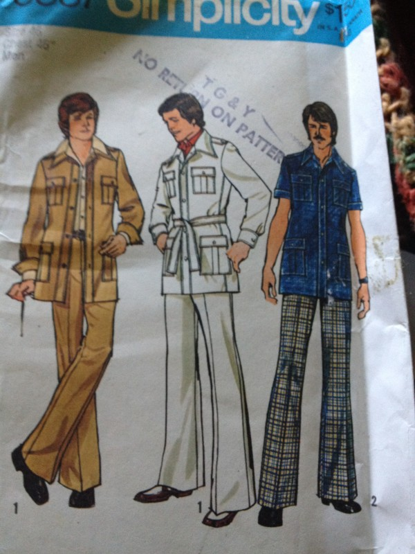 photo of a Simplicity pattern for a men's leisure suit. 3 drawings of men in tan, white and blue versions of the pattern