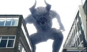 Abaddon (Horned demon towering over buildings)