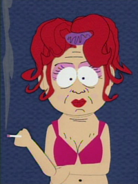 South Park still of Frida, the hooker character that appears in some episodes. She has red poofy hair with a purple bow and wears a pink bra. She has her arms crossed and is smoking a cigarette.