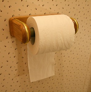 roll of toilet paper with the end hanging to the back, against the wall