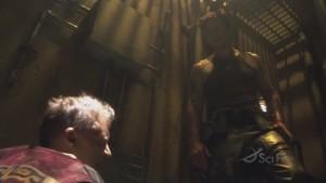 Sam stands over a crouching Leoben.