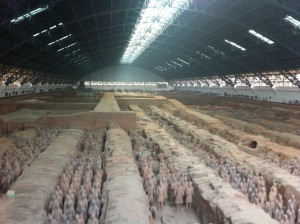 Rows and rows of terracotta warriors