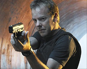 Kiefer Sutherland as Jack Bauer from 24, holding gun.