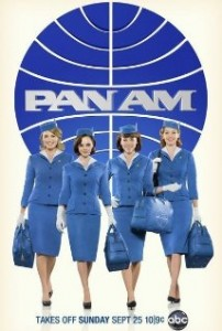 Ad for Pan Am TV show. Four women dressed in vintage flight attendant costumes stand in front of a Pan Am logo.