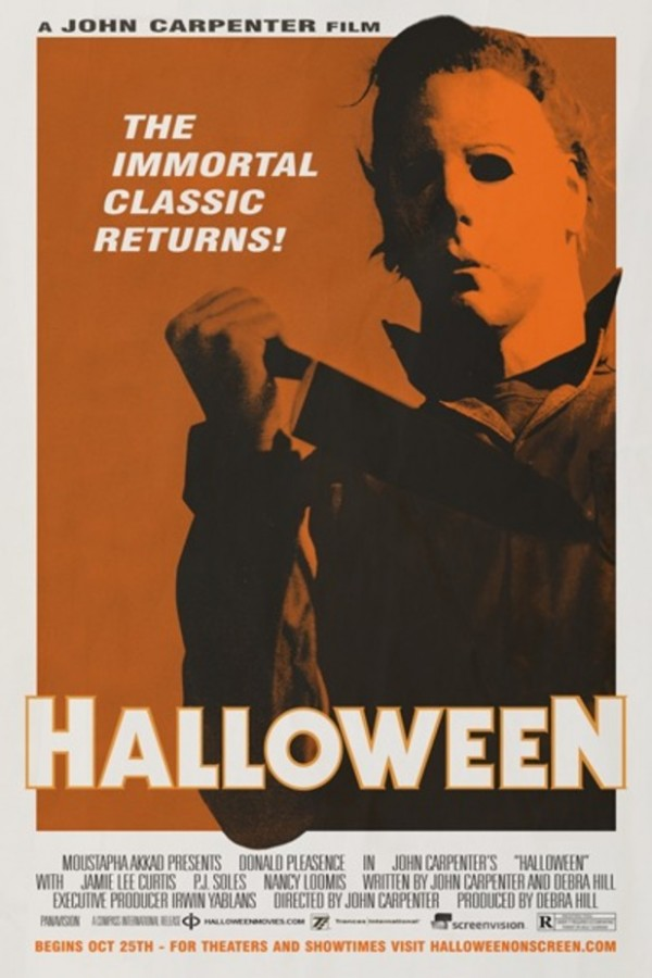 "Poster for re-release of Halloween. ""The immortal classic returns!"""