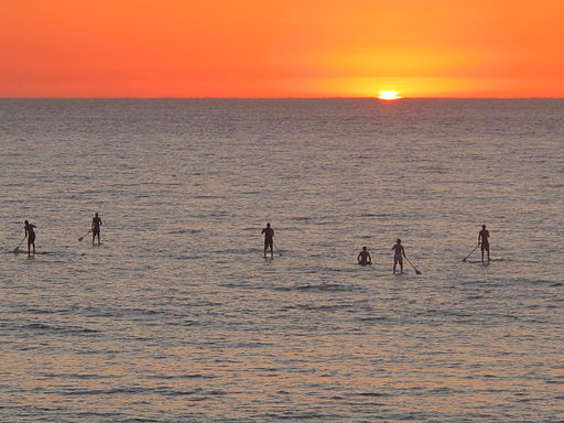 6 paddleboarders on the sea as the sun sets in the distance