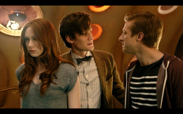 Amy, The Doctor, and Rory inside the TARDIS