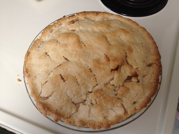 Baked apple pie, with nicely browned top crust