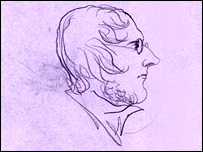 Line drawing of Branwell Bronte in profile