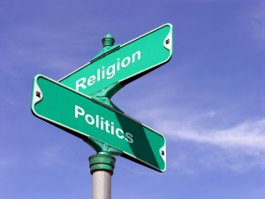 Street signs showing the intersection of religion and politics