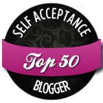 "Black and purple badge reading, ""Top 50 Self Acceptance Blogger"""