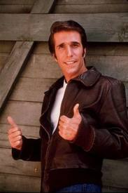 Henry Winkler as The Fonz, giving two thumbs up.