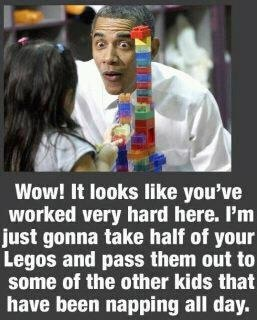 "Picture of Obama talking to a little girl with Legos; caption reads ""Wow! It looks like you've worked very hard here. I'm just gonna take half your Legos and pass them out to some of the other kids that have been napping all day."""