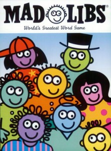 Mad Libs cover, with funny cartoon faces