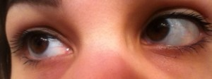 Closeup of eyes, with two coats of They're Real! mascara