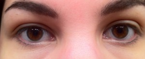Closeup of eyes, wearing no makeup
