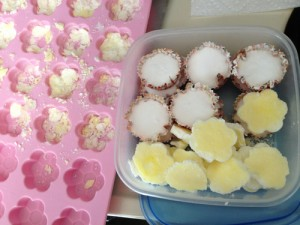 Pink silicone tray filled with crumbs, next to plastic container with final product - white disks in cupcake liners, and yellow ones that mostly do not resemble flowers like they were supposed to.
