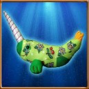 Green, flowery narwhal