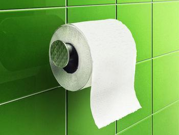 Toilet paper with the paper hanging in front
