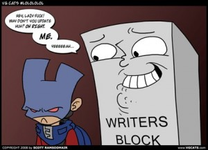 """Cartoon of an anthropomorphized block taunting a frowning person in a superhero costume. The block says """"Hey, lazy fuck! Why don't you update, huh? Oh right, me. Yeah..."""""""